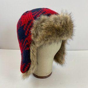 Lands' End Buffalo Check Trapper Fur Kids Hat M L